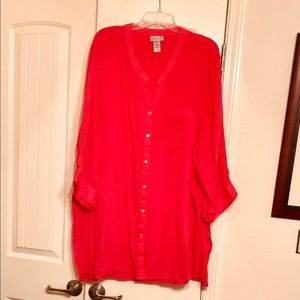 5x Catherine's Coral colored Gauze Top